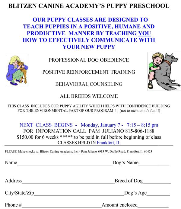 Puppy Class Schedule 110818